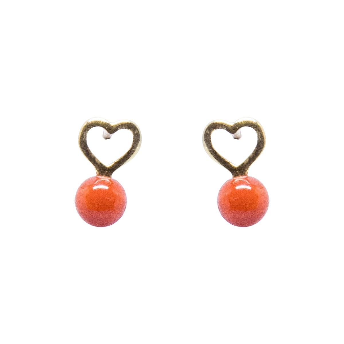 Brinco Ouro 18k Infantil Coração Com Bolinha Vermelha - R  288,64 em ... 037f5fc600