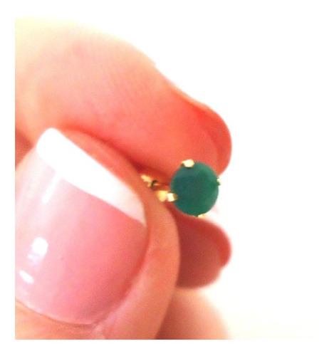 brinco pedra jade natural de 3mm em ouro 18k até 12x s/juros