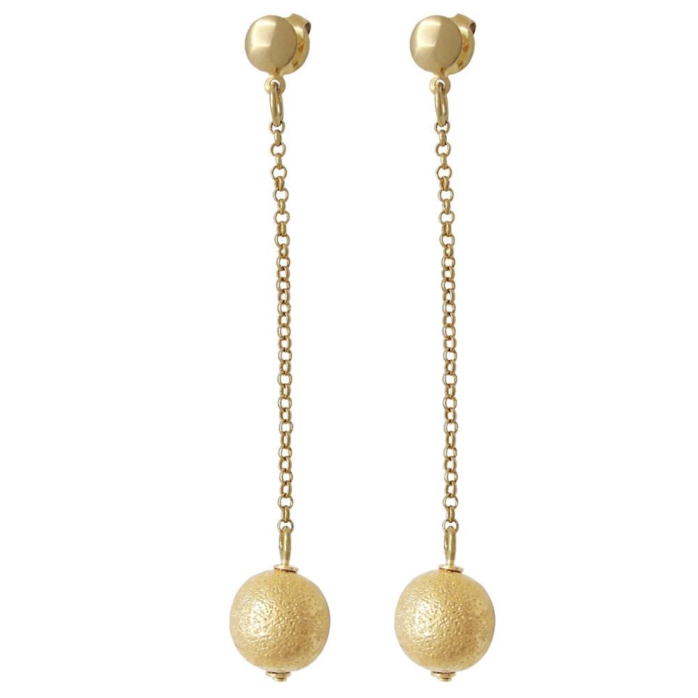 d95d9e2cf1983 Brinco Pendulo Bola Folheado A Ouro - R  45,61 em Mercado Livre