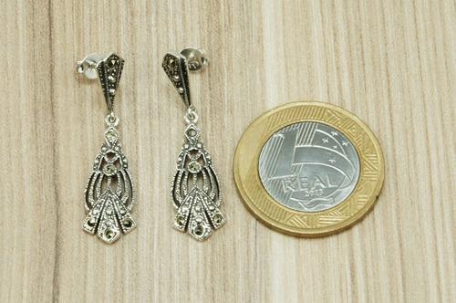 brinco pendurado trabalhado (m3,1) prata 925
