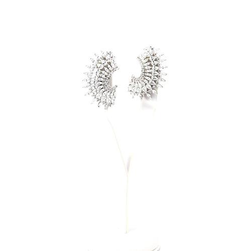 brinco prata cravejado em zircônia branca - br010372