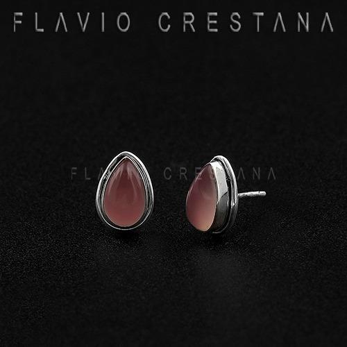 brinco quartzo rosa natural, gota, prata 925. india - 219212