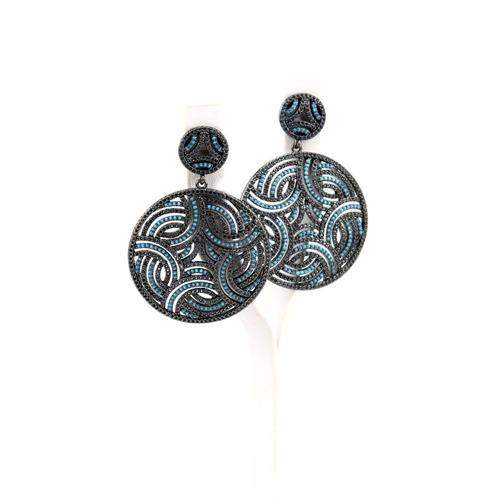 brinco ródio negro em zircônia negra e nano turquesa