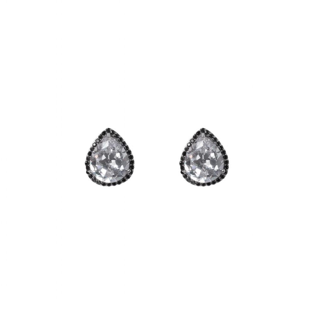 6534252e450ec brinco rodio negro gota cristal zirconia preto onyx. Carregando zoom.