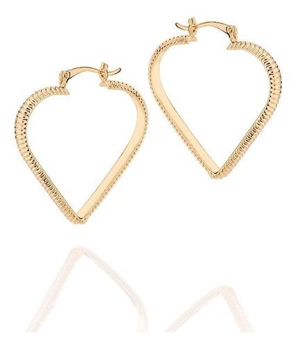 brinco rommanel argola trabalhada no formato coração. med