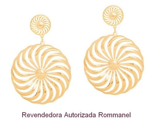 brinco rommanel espiral folheado ouro 526063