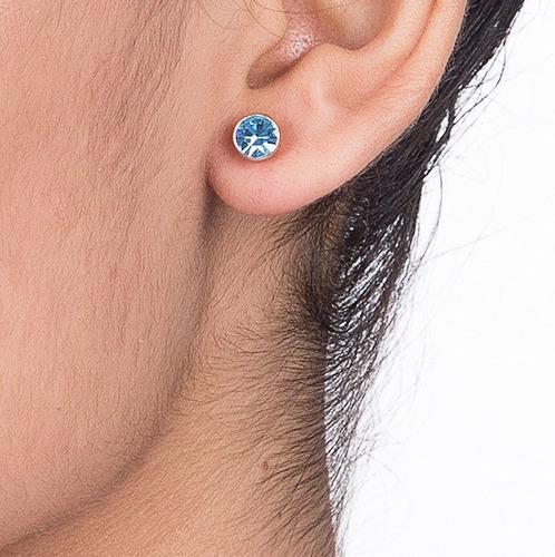 brinco rommanel folheado ouro pequeno pedra azul/rosa 525181