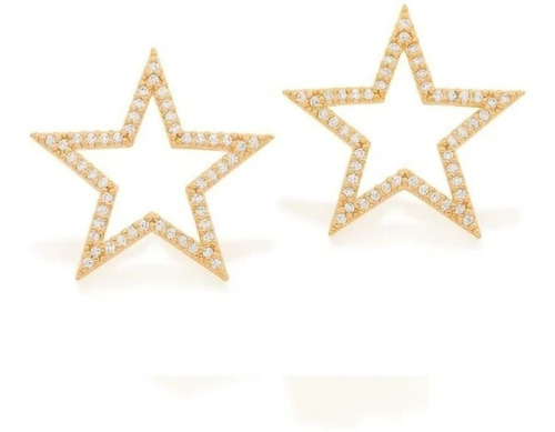 brinco rommanel formato de estrela com zircônias