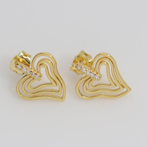 brinco semi joias finas coração com zircônia banho ouro 18k