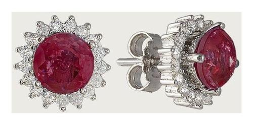 brinco sol de prata com zircônia vermelho