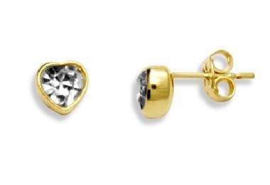brinco solitário cristal coração mm ouro rommanel  520332