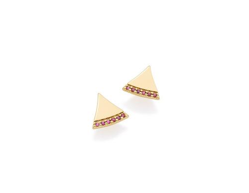 brinco triângulo 12 zircônias ouro rommanel