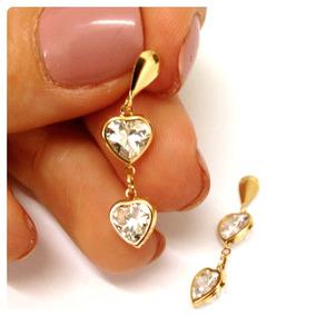 4ec16237f71d9 Brinco De Coração Em Ouro Branco 18k Com Brilhante - Joias e ...