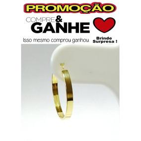 620b34aa22bdc Argola De Ouro 18k Quadrada - Brincos no Mercado Livre Brasil
