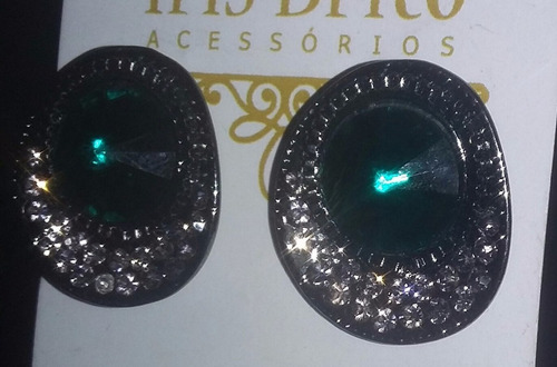 brincos bijuteria verde esmeraldas
