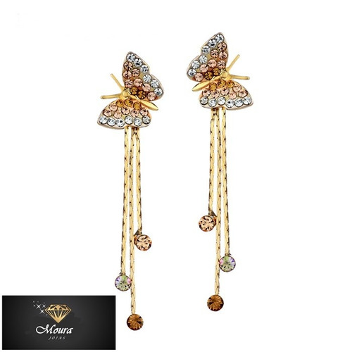 brincos borboletas ouro 14k jóia linda para mulheres