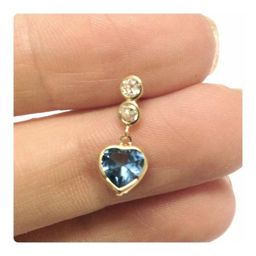 brincos coração cor agua marinha joia delicada ouro 18k
