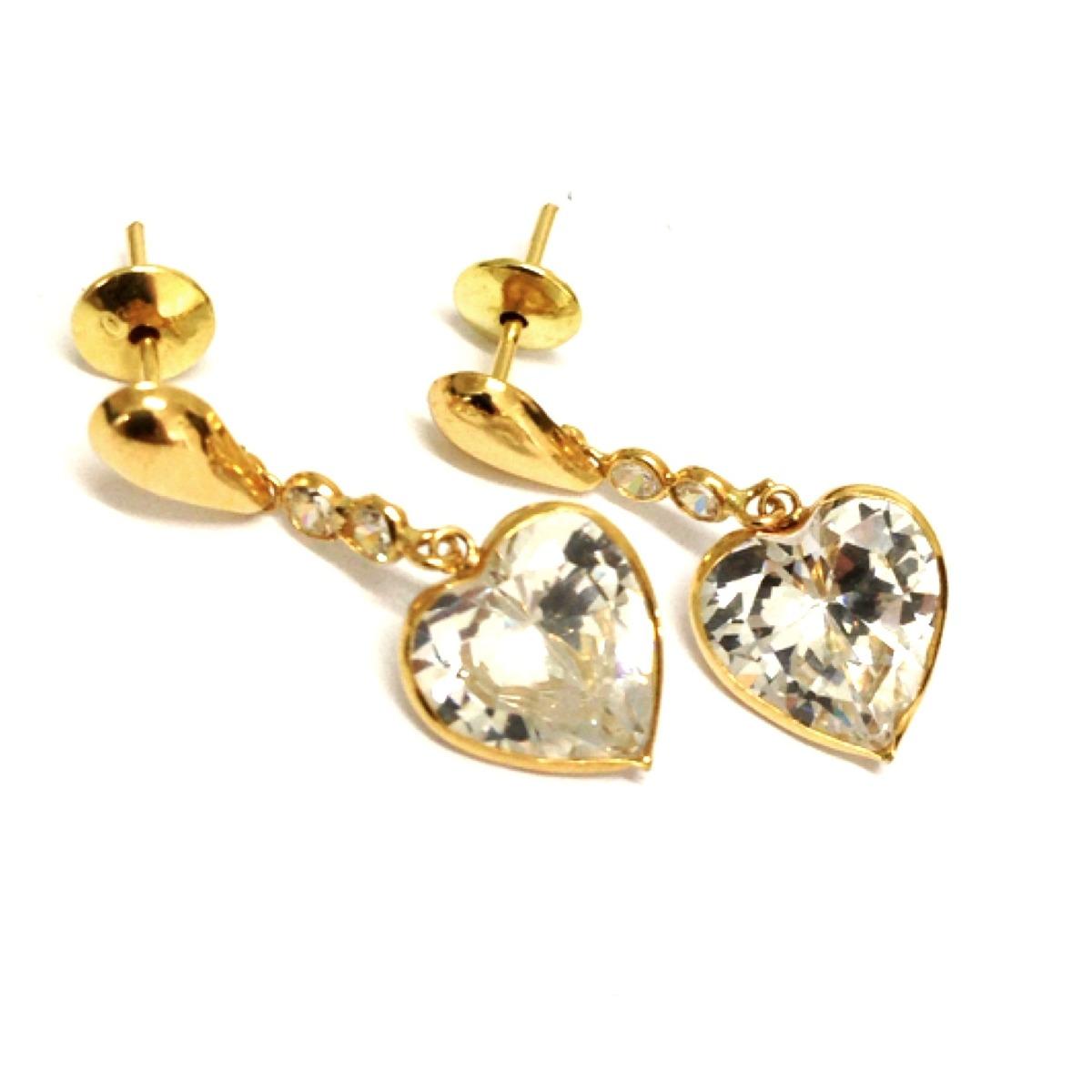 4033f3ed2e90c brincos coração pedra transparente brilhante joia ouro 18k. Carregando zoom.