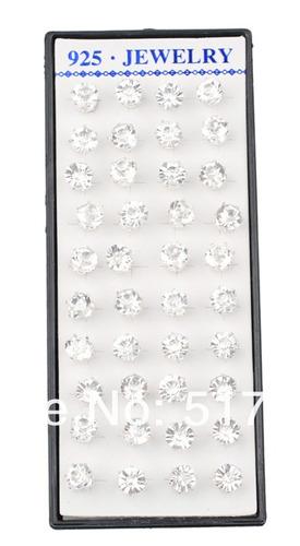 brincos de cristal e prata forma 925 do parafuso prisioneiro