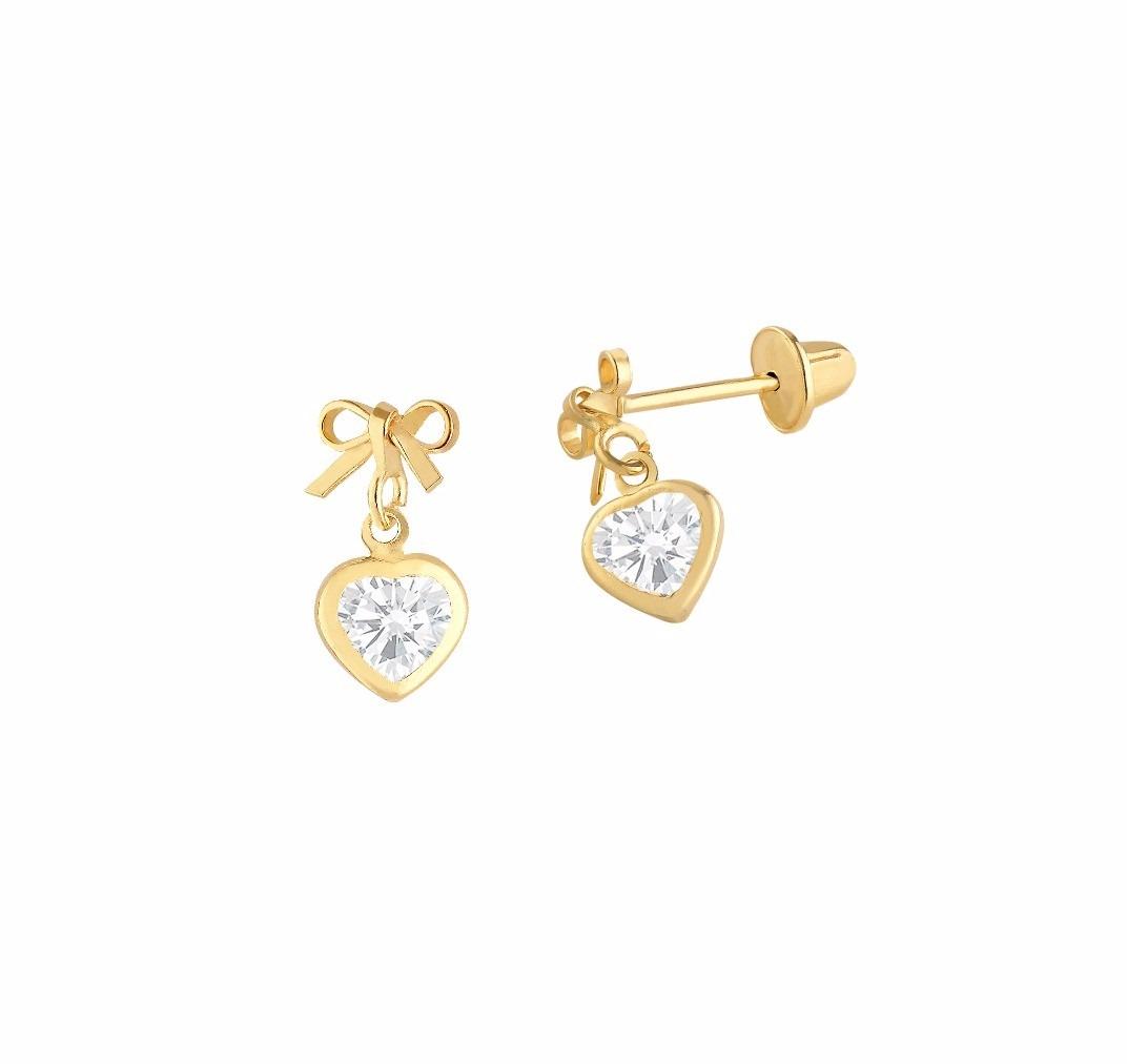 brincos de ouro 18k 750 pedra com coração bebê, infantil. Carregando zoom. 218d2917df