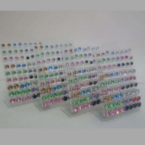 brincos de pedra feminino 144 pares bijoteria atacado barato