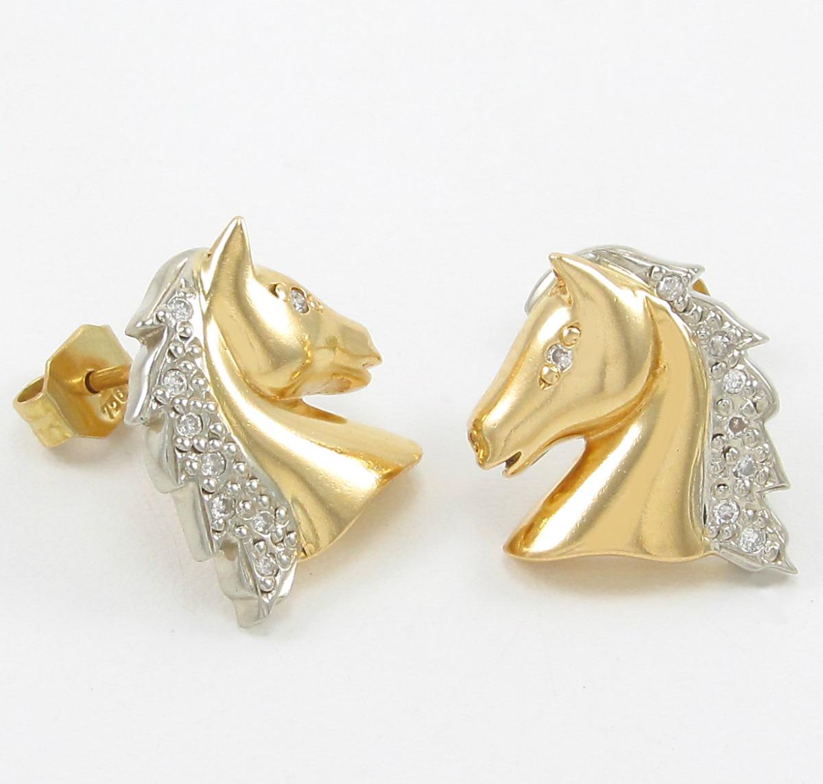85369db8636 Brincos Design Cavalo Cravejado Com Diamantes Ouro 18k 750. - R  1.799