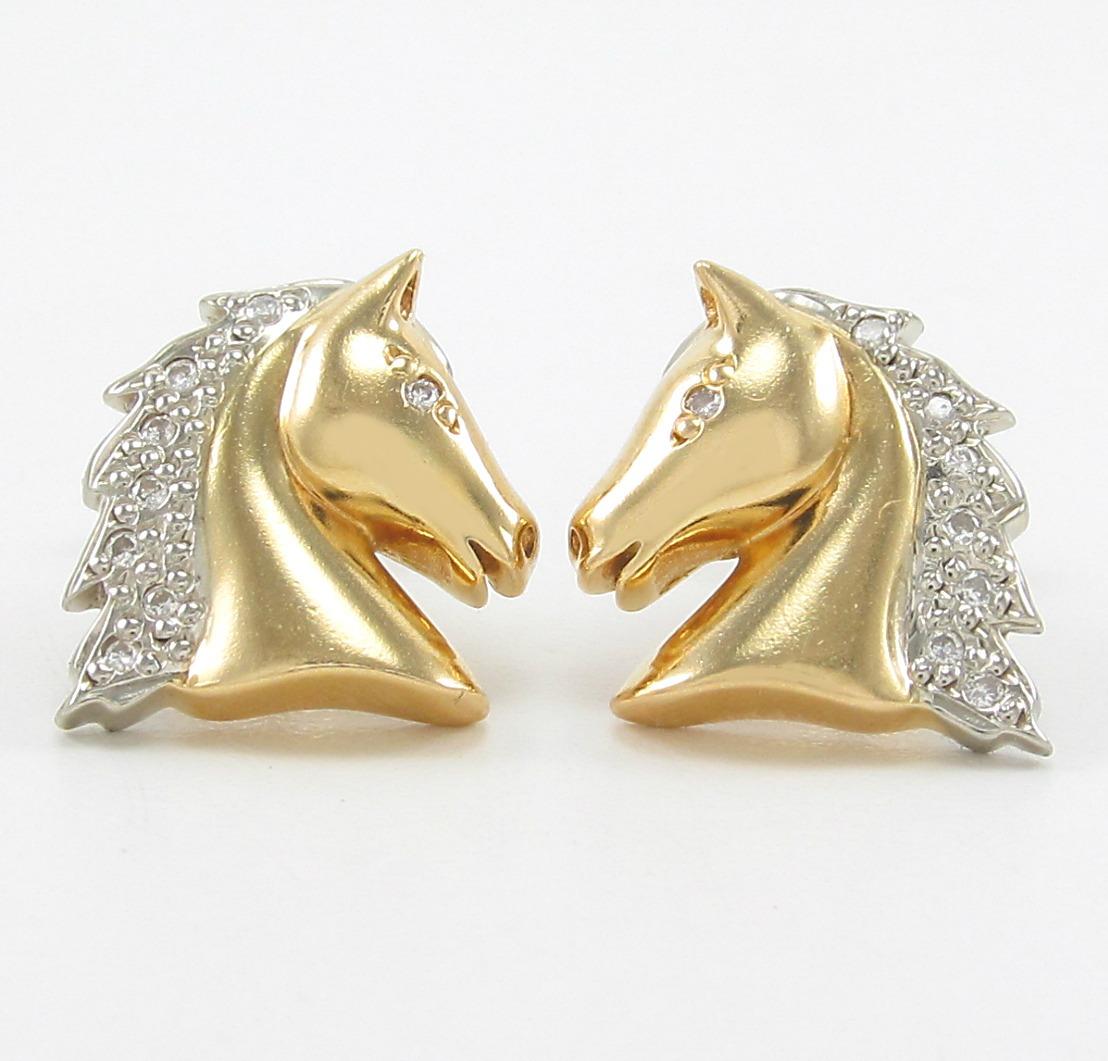 8cedd0d93a4 Brincos Design Cavalo Cravejado Com Diamantes Ouro 18k 750. - R ...
