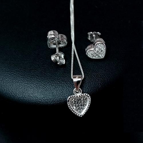 brincos e colar  feminino coração pavê prata 925 maciça