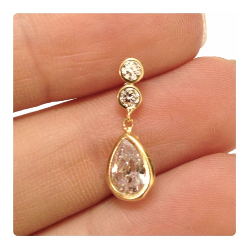 brincos elegantes gota zirconia brilhante joia ouro 18k