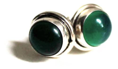 brincos em prata com ágatas verdes naturais