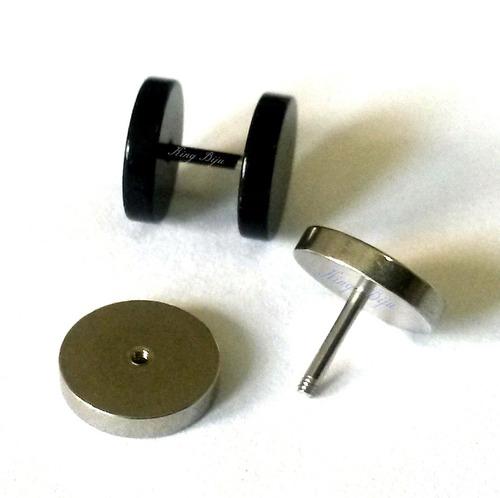 brincos falsos alargadores 10mm (1 preto 1 prata) furo comum