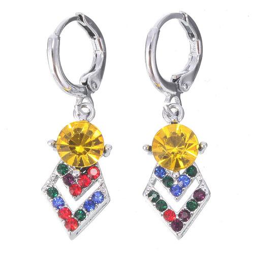 brincos feminino cristal colorido carnaval tropical dia 38