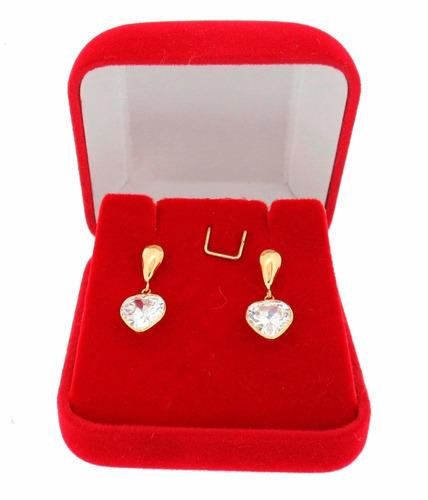 brincos feminino joia de ouro 18k 750 coração certificado