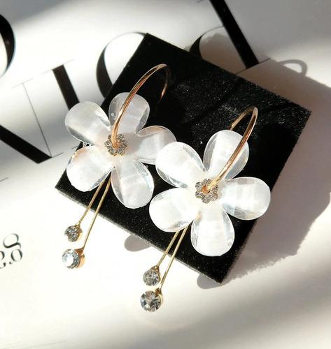brincos feminino stellux cristal flor florido liga de zinco
