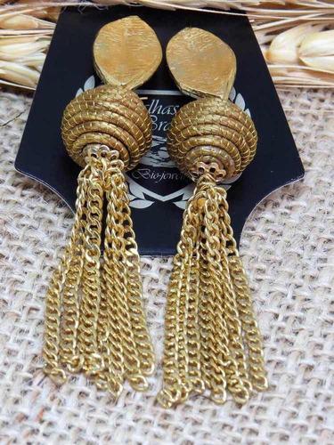 brincos femininos biojoia capim dourado pronta entrega