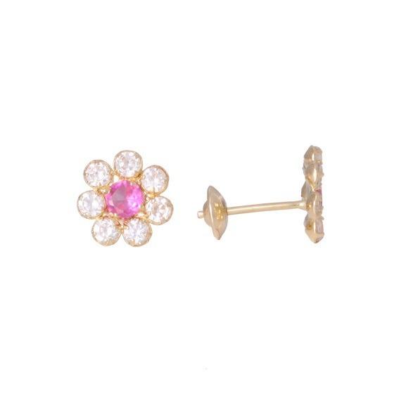 f9e6b357f73 Brincos Flor Rosa Em Ouro 18k E Zircônias - R  244