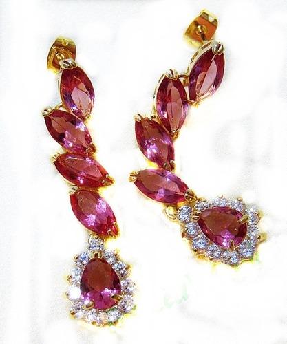 brincos folheados a ouro  com cristais  gota rosa escuro