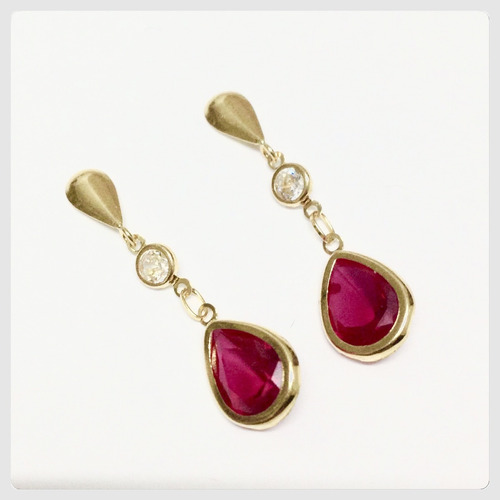 brincos gota zirconia vermelho rubi joia delicada ouro 18k