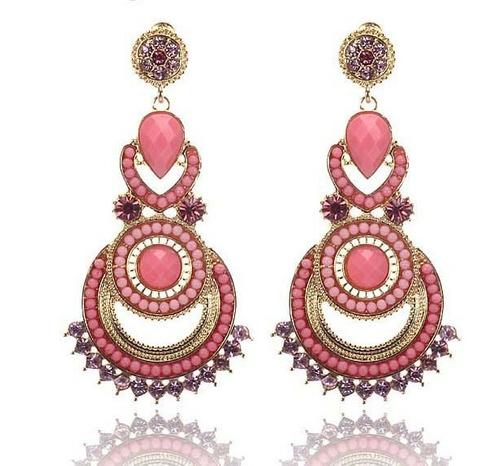 brincos longos designers beads gilded vintage 40% desconto
