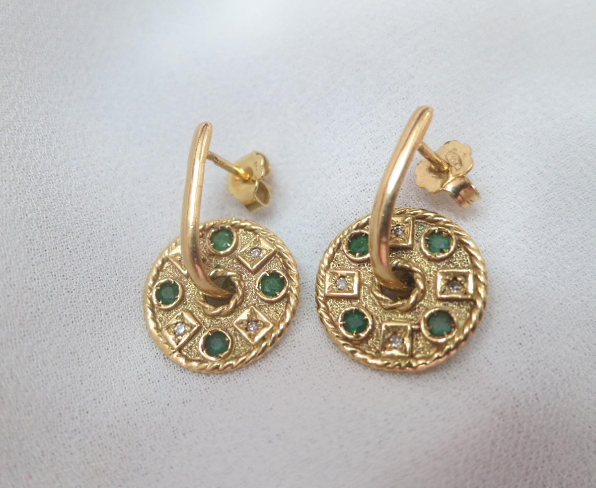 brincos mandala com diamantes e esmeraldas ouro amarelo. Carregando zoom. 7b258ea66d