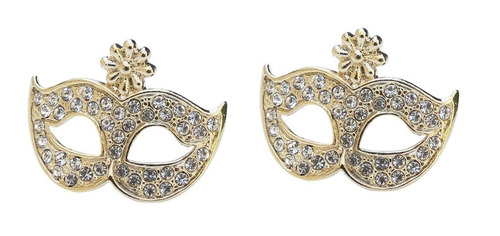 brincos máscara - folheado 18k (garantia 6 meses)