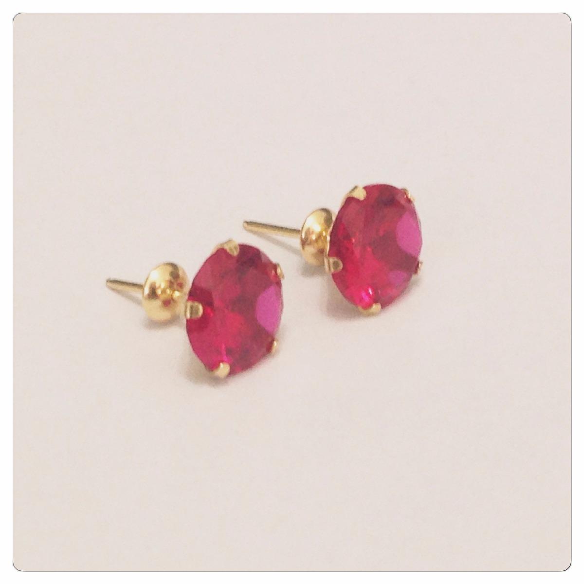 3a056fd93d8 Brincos Pedra Vermelho Rubi De 7mm Delicada Joia Ouro 18k - R  230 ...