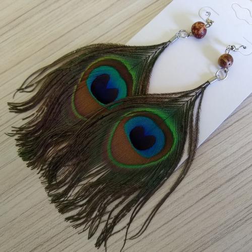 brincos penas de pavão importado ref: 7984 (24 pares)