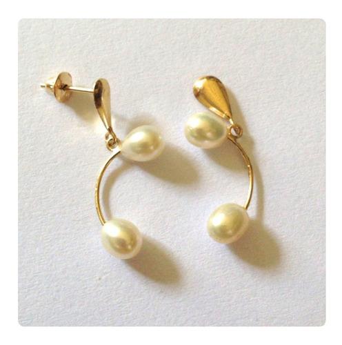 brincos perolas naturais joia de ouro 18k elegante
