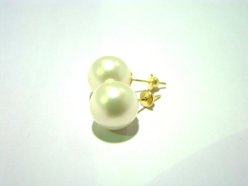 brincos perolas shell brancas grandes de 10mm joia ouro 18k