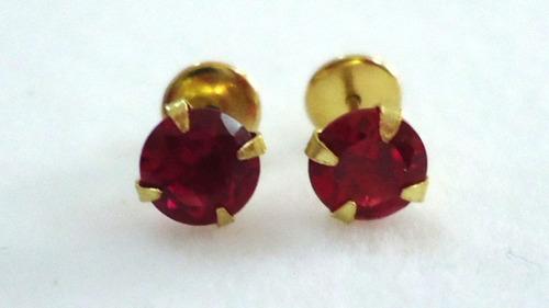 brincos recém nascidos pedra zirconia vermelha joia ouro 18k