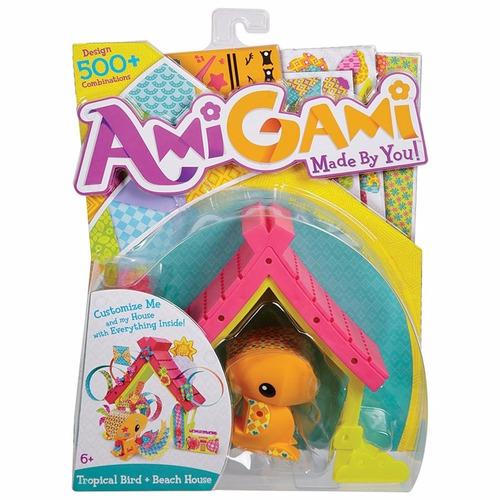 brinquedo animal passaro tropical + casa amigami mattel