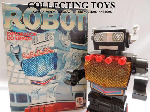 brinquedo antigo - robô da mimo - explorador  - c/ caixa
