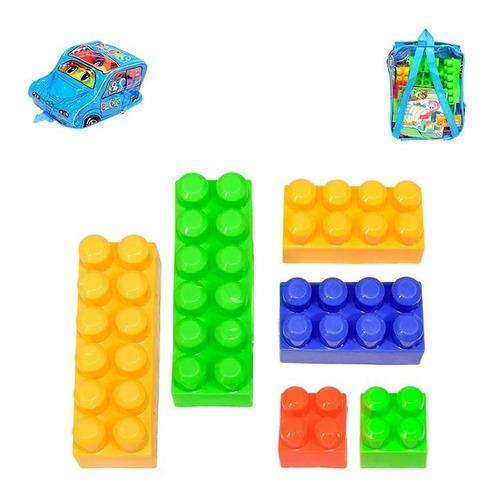 brinquedo  blocos de montar com 30 pçs na mochila carro