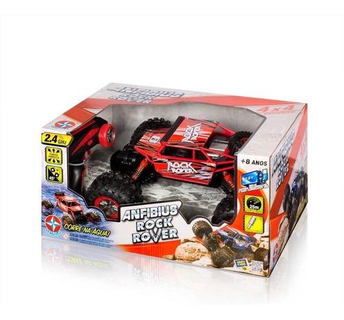 brinquedo carrinho de controle remoto anfibius vermelho